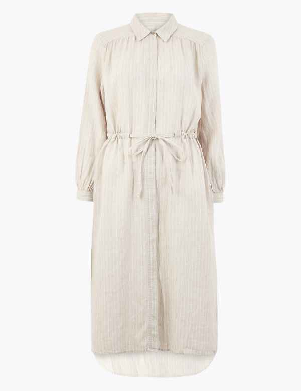 360e20df55e2 PETITE Pure Linen Striped Shirt Midi Dress