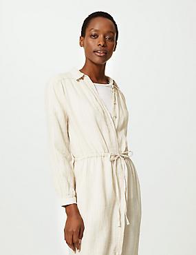 7985322435 Pure Linen Striped Midi Shirt Dress