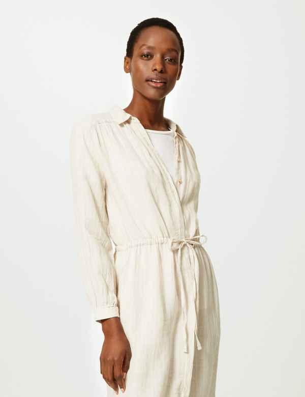 5d18706443 Pure Linen Striped Midi Shirt Dress