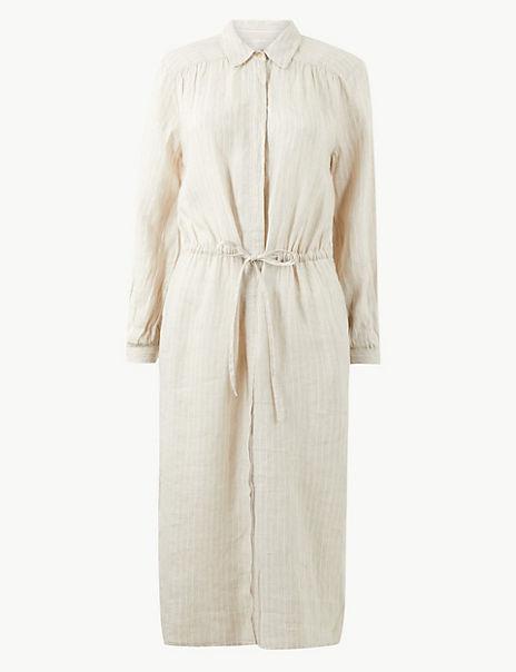 Pure Linen Striped Midi Shirt Dress