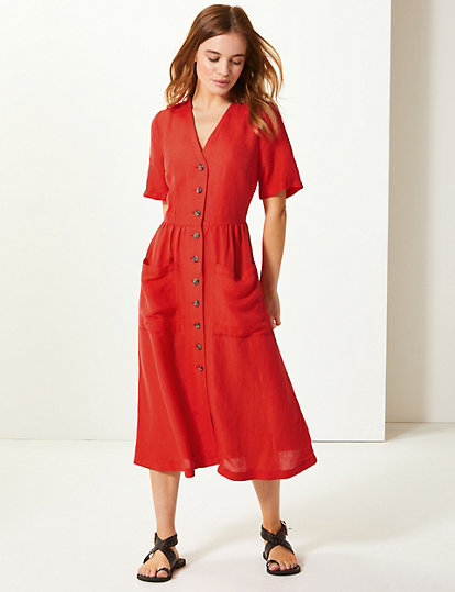 864f253fe7c PETITE Patch Pocket Waisted Midi Dress