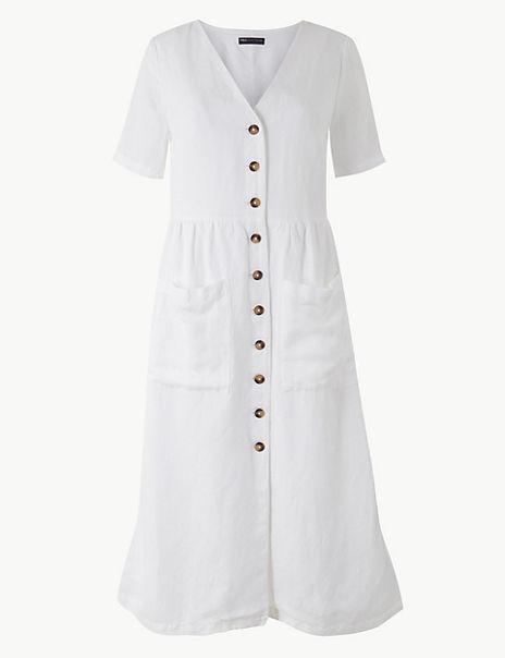 PETITE Patch Pocket Waisted Midi Dress