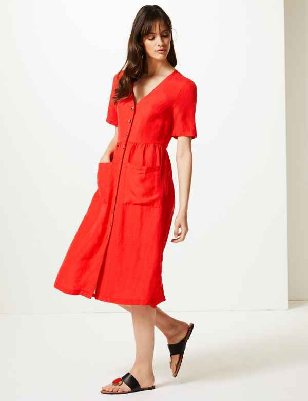 Button Front Waisted Midi Dress 7be42573c