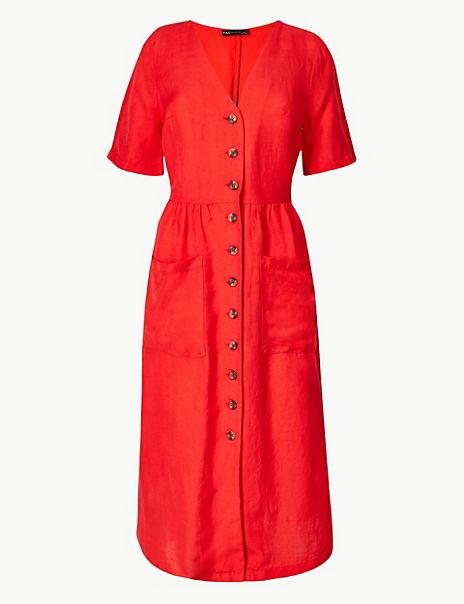 Linen Blend Button Front Waisted Midi Dress