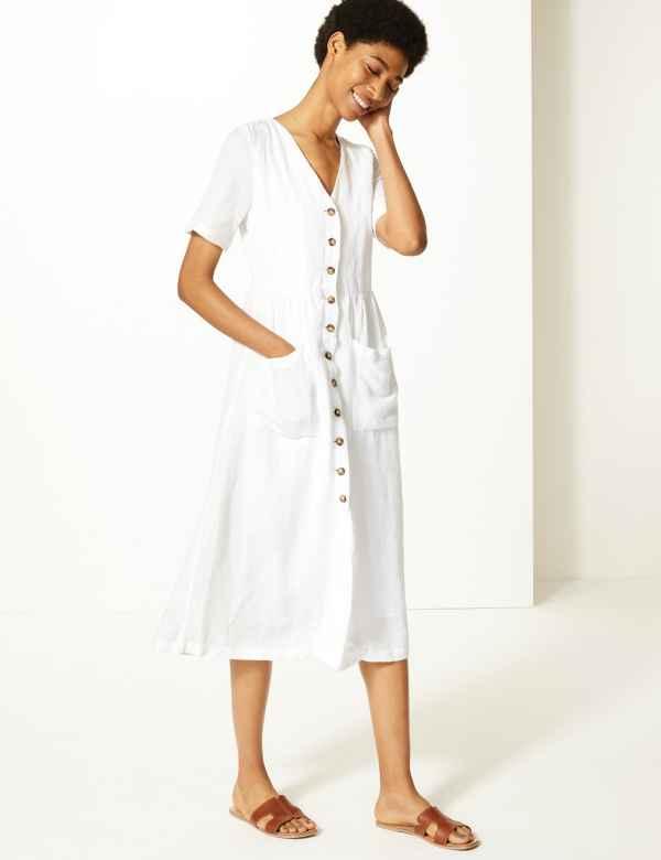 c729f47309db Linen Blend Button Front Waisted Midi Dress