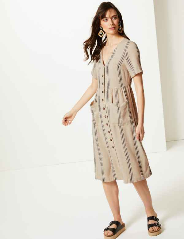 f2eb0dda7cd2 Linen Rich Striped Waisted Midi Dress