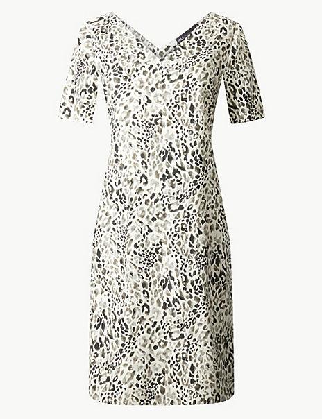 Linen Rich Animal Print Shift Dress