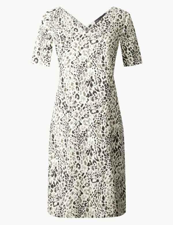 f70c2102084e Linen Rich Animal Print Shift Dress