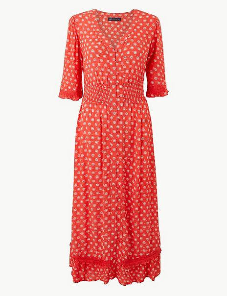 Floral Print Short Sleeve Waisted Midi Dress