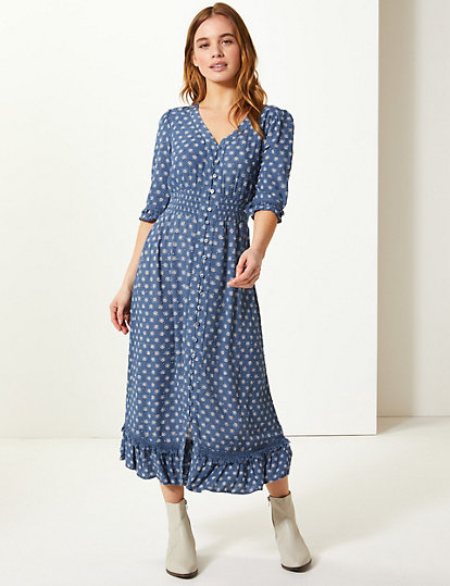 1d3ee80297ef PETITE Floral Print Waisted Midi Dress | Dresses | Marks and Spencer US