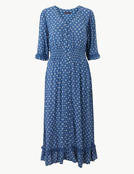 Floral Print Dobby Waisted Midi Dress