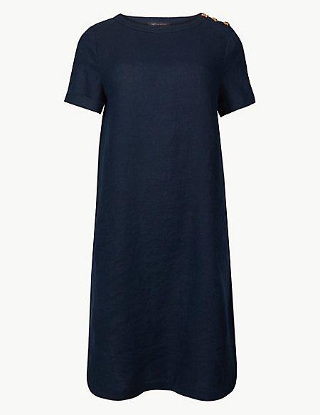 Pure Linen Shoulder Button Shift Dress