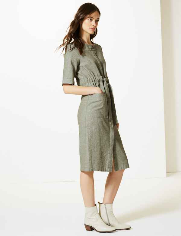 e845db06f833 Linen Rich Tie Waist Shift Midi Dress
