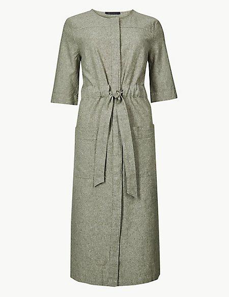 Linen Rich Tie Waist Shift Midi Dress
