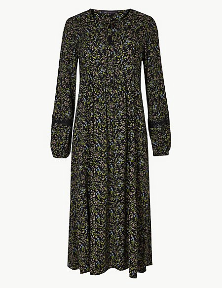 Floral Print Long Sleeve Relaxed Midi Dress