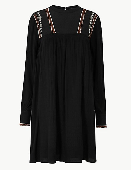 Embroidered Relaxed Mini Dress
