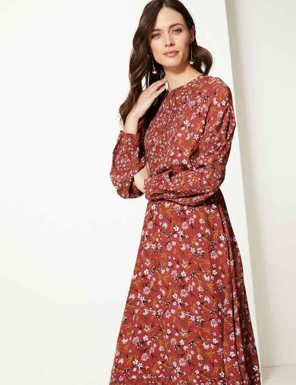 f2596733bbe Floral Print Waisted Midi Dress