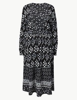 PETITE Floral Print Waisted Midi Dress