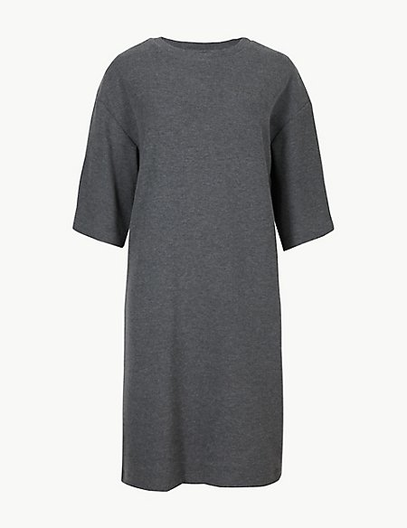 Cotton Blend Cosy Shift Mini Dress