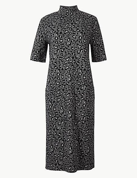 Animal Print Short Sleeve Shift Midi Dress