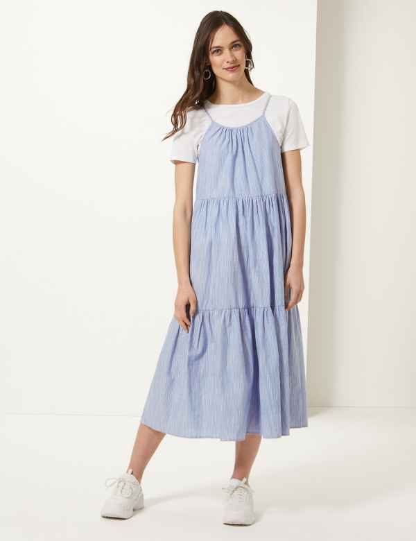 b1fe56a852a7 Pure Cotton Striped Midi Slip Dress
