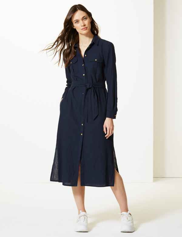 Tie Waist Midi Shirt Dress a24eee3fc