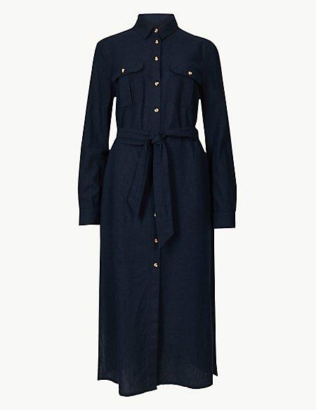 Patch Pocket Shirt Midi Dress