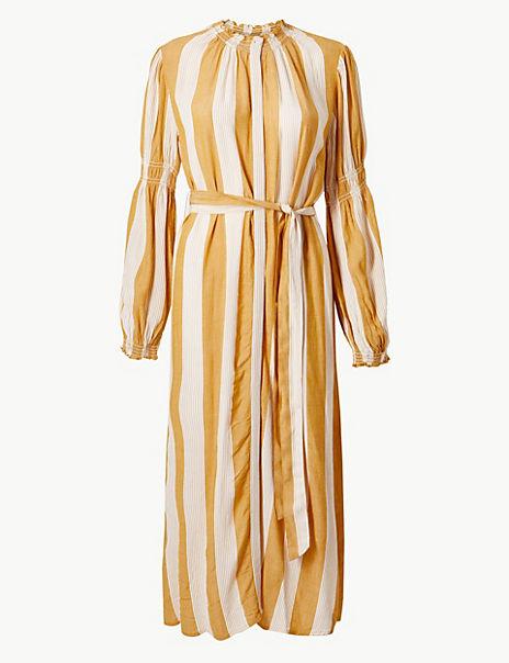 Striped Tie Waisted Midi Dress