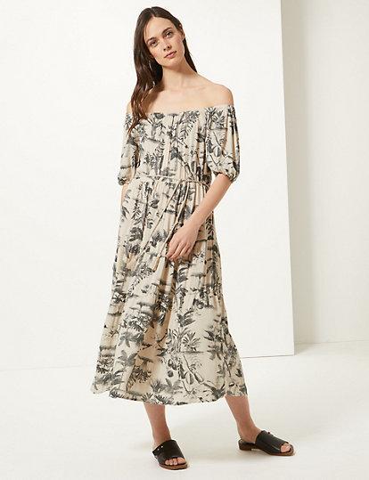 Nouveau m/&s Collection en pur coton imprimé floral A-line Robe Midi Sz UK 10