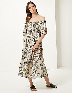 63d3e8dd835e Printed Short Sleeve Waisted Midi Dress ...