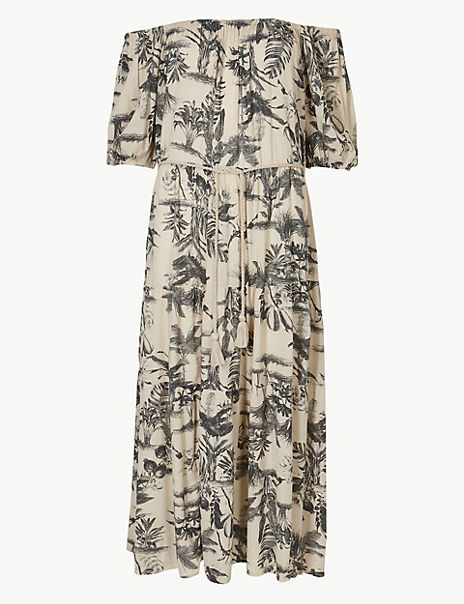 Leaf Print Waisted Midi Dress