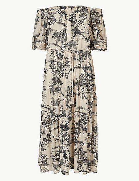 Leaf Print Waisted Midi Dress