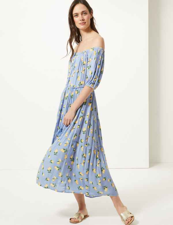 486b5011aa01 Lemon Print Waisted Midi Dress