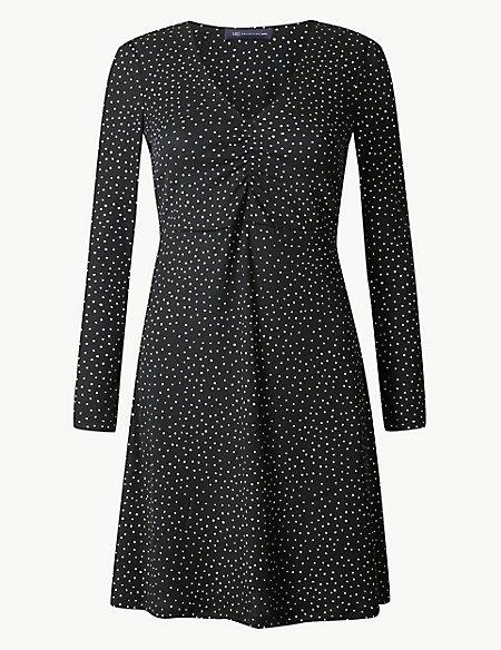 PETITE Polka Dot Fit & Flare Dress