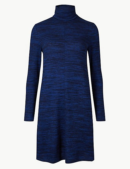 Textured Long Sleeve Mini Shift Dress
