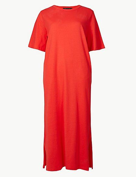 Pure Cotton Short Sleeve Shift Midi Dress