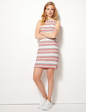 Striped Knee Length Shift Dress