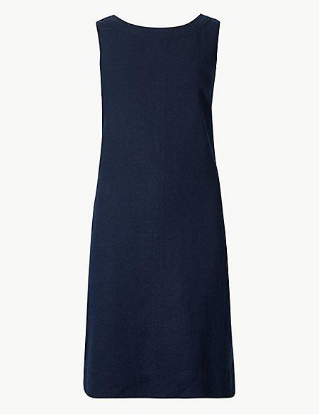 PETITE Linen Rich Shift Dress