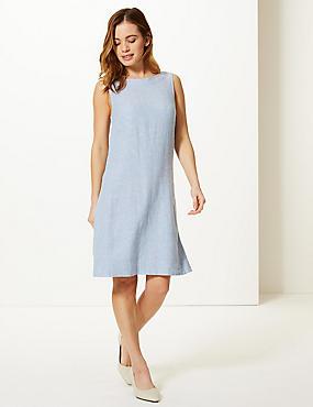 PETITE Linen Rich Round Neck Shift Dress