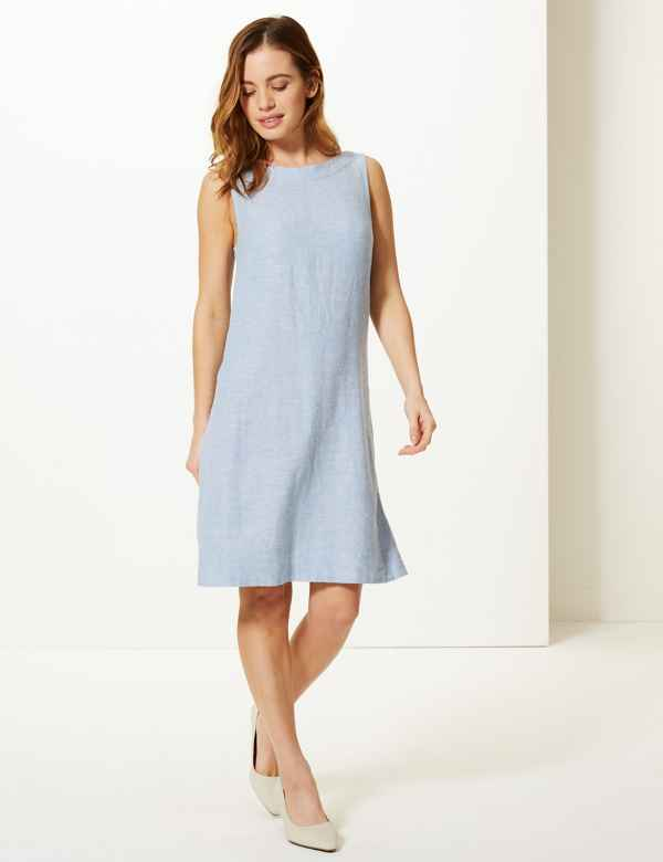 7bdd2659187177 PETITE Linen Rich Shift Dress