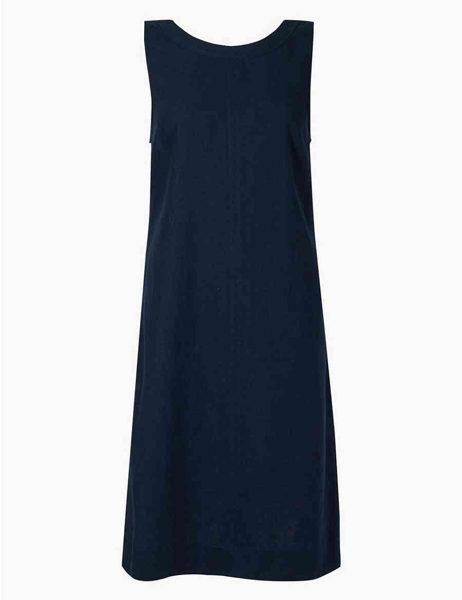 ec1ea713b6 Linen Rich Shift Dress