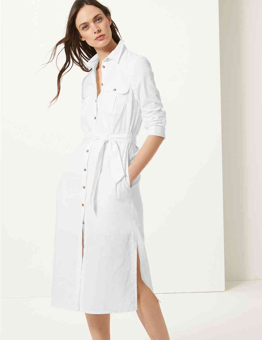 Long Sleeve Shirt Midi Dress