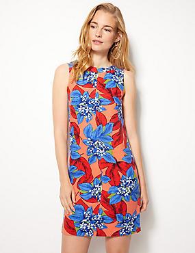 Linen Rich Floral Print Shift Dress