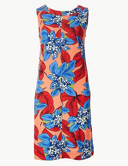 Linen Rich Floral Print Shift Mini Dress