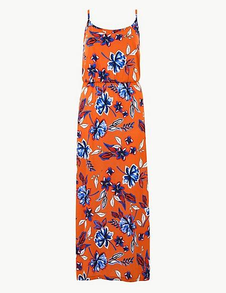 Pure Cotton Floral Print Slip Maxi Dress