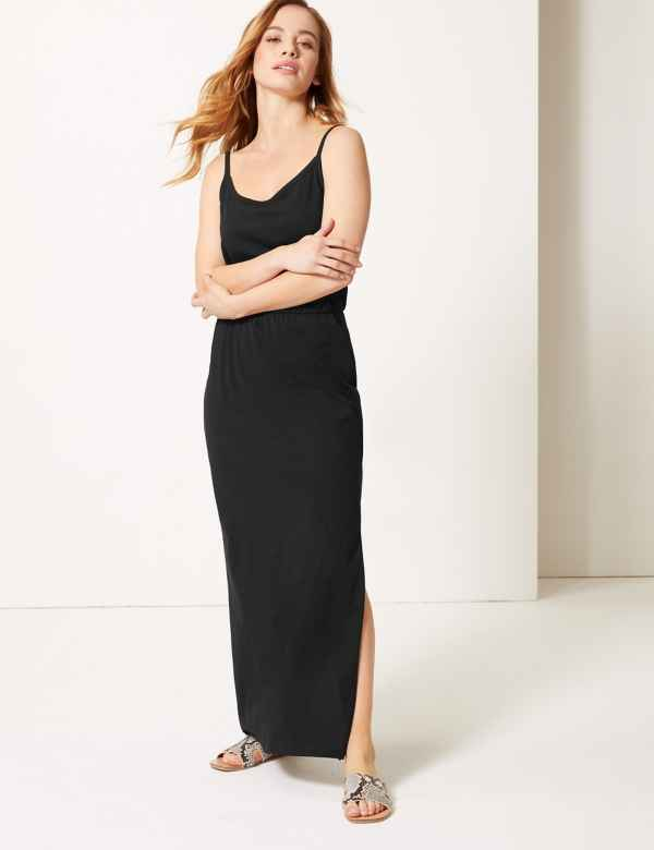 2de360cf98 PETITE Pure Cotton Waisted Maxi Dress