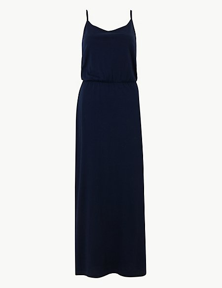 Pure Cotton Waisted Maxi Dress