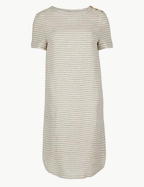 Pure Linen Striped Shift Dress