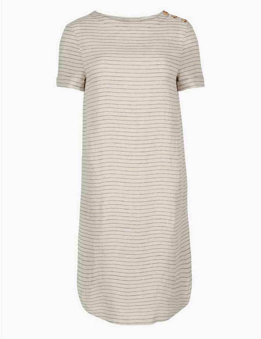 6bab1198198 Pure Linen Striped Shift Dress