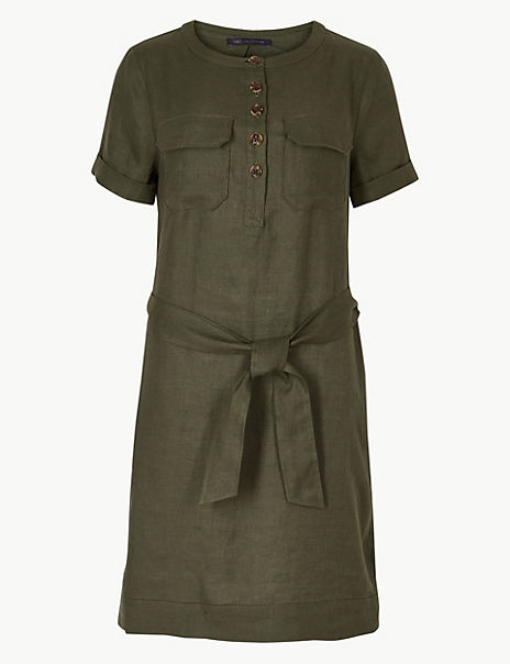 Pure Linen Shirt Mini Dress